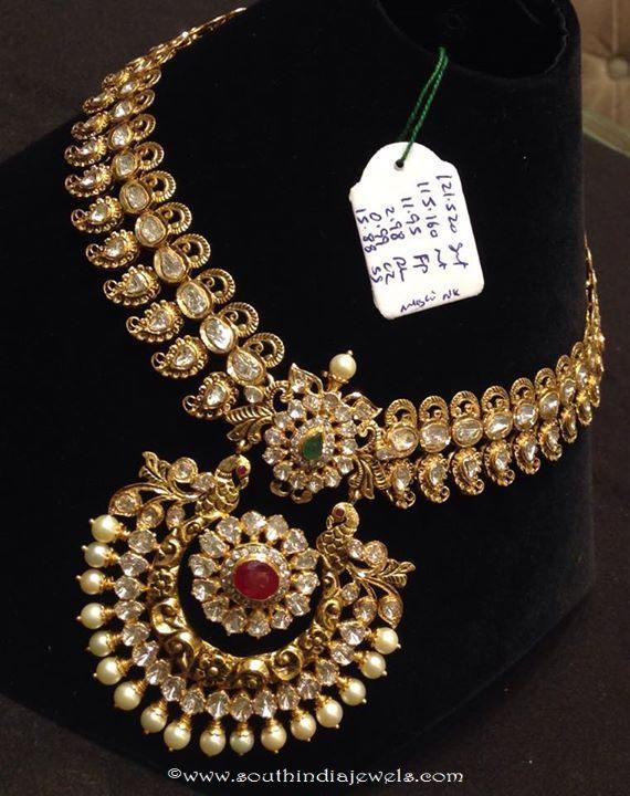 115 Grams Gold Polki Long Necklace