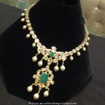 37 Grams Gold Polki Necklace With Emeralds