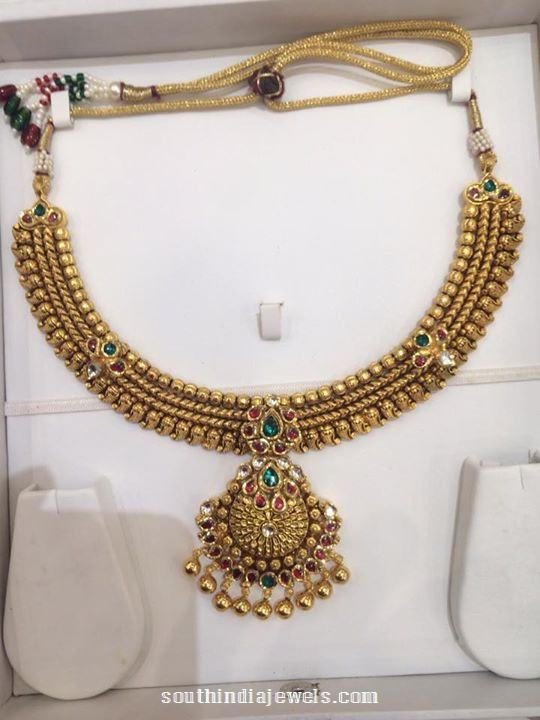 Gold Antique Attigai Necklace with Weight Details