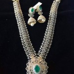 Diamond Long Necklace With Matching Jhumka