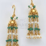 Gold Emerald Hoop Jhumka Earrings