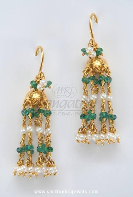 Gold Emerald Hoop Earrings