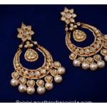 Gold Kundan Chandbalis