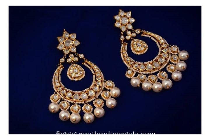 Gold Kundan Chandbalis from MOR Jewellers