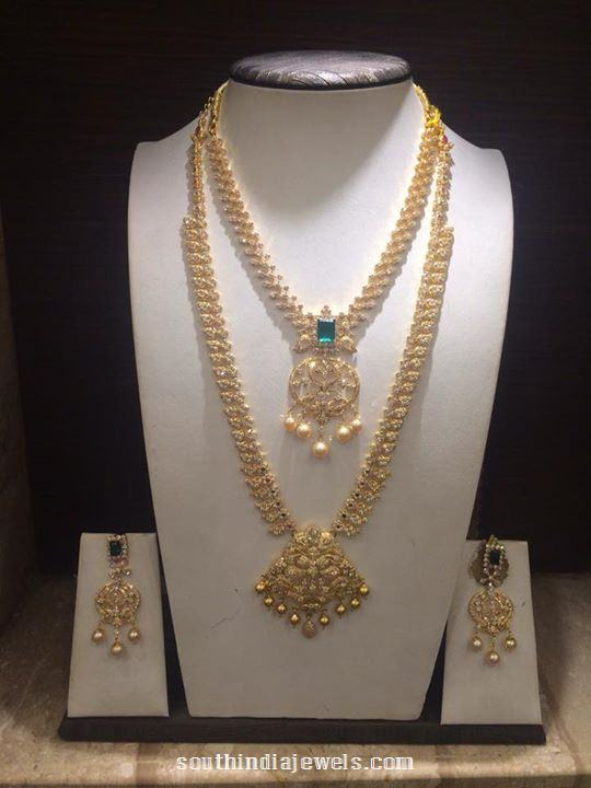 Gold Stone Long Necklace Set Designs