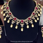 Imitation Ruby CZ Stone Choker Necklace Set