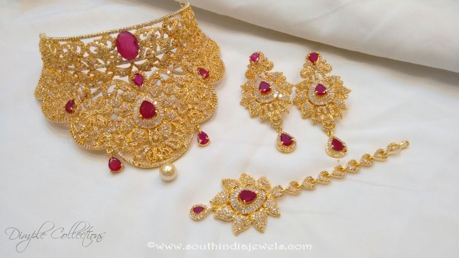 AD Stone Choker Set From Dimple Collections