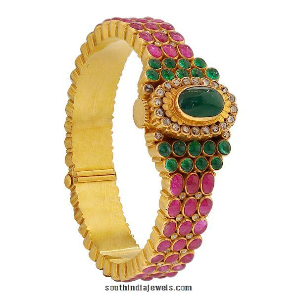 Gold Ruby Emerald Kada Bangle from Prince Jewellery