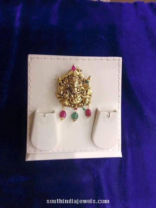 Gold Antique Ganesh Pendant