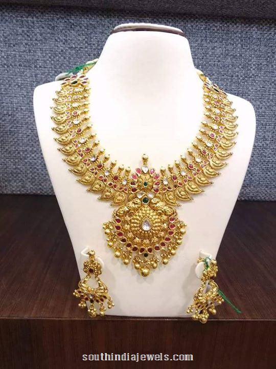 Gold Mango Necklace Jewellery Design