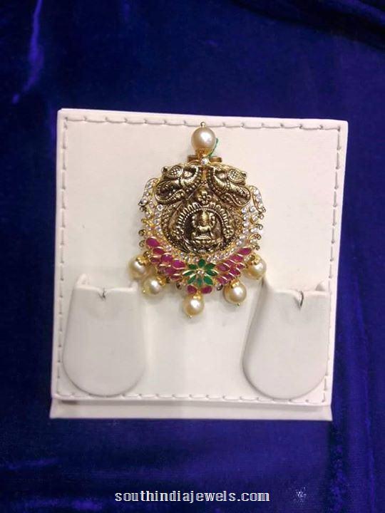 gold anituq ruby emerald pendant