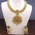 Gold Matt Finish Attigai Necklace with Jhumka