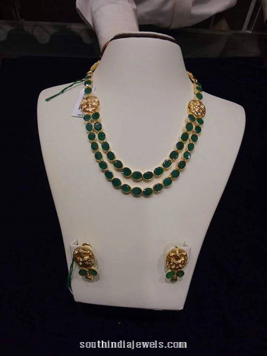 Gold Emerald Step Necklace With Earrings