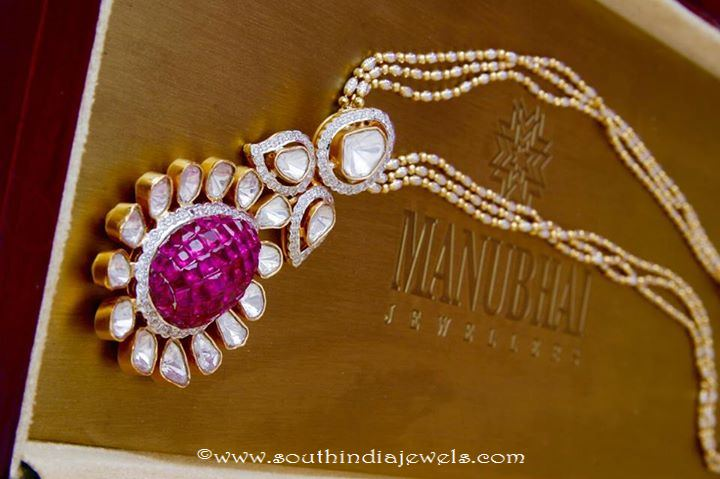 Gold Polki Short Necklace From Manubhai Jewellers