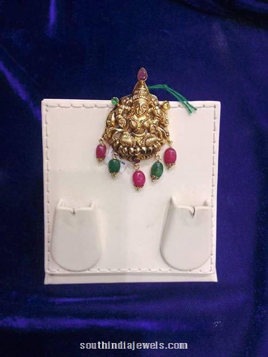 Gold Lakshmi Pendant for short chains