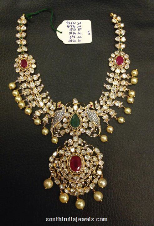 Gold Stone Necklace with Pearls