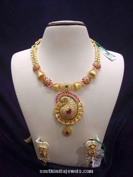 Gold Stylish designer necklace from sree harsha jewellers