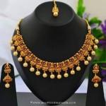 1 Gram Gold Temple Necklace Set