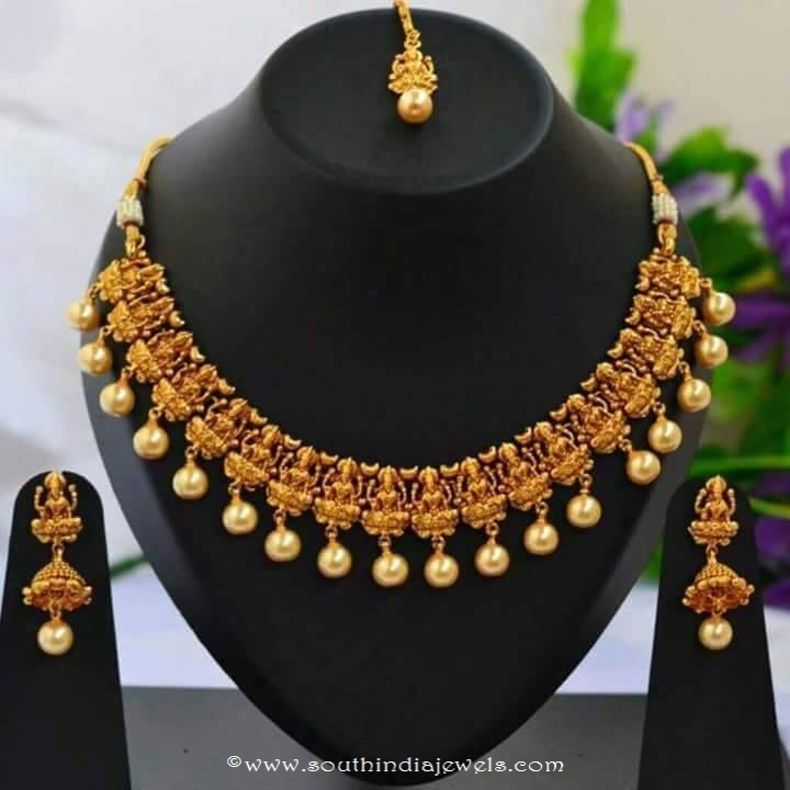 1 Gram Gold Temple Necklace Set with Earrings