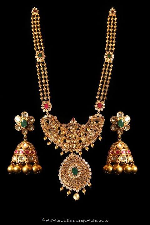 22k gold temple jewellery haram wih matching jhumka