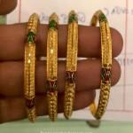 Gold Bangle With Enamel Coating
