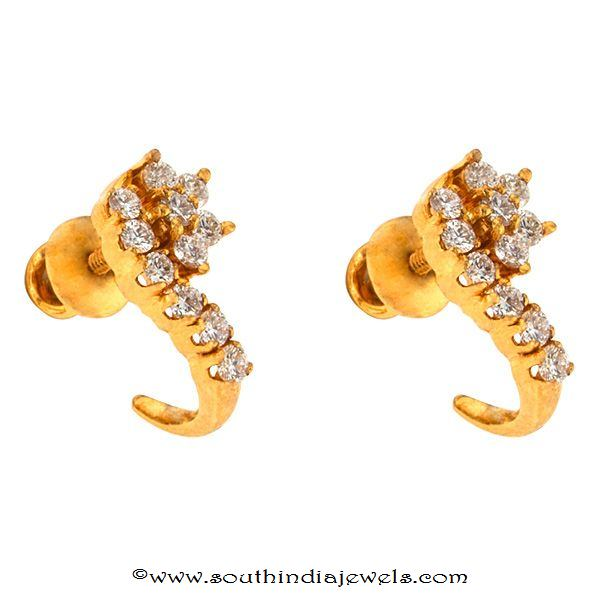 Gold Diamond Ear stud design from Prince Jewellery