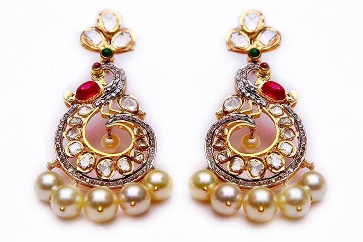 Gold fancy stone earrings from MOR Jewellers