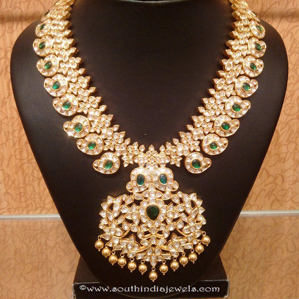 Gold Uncut Diamond Emerald Necklace from NAJ