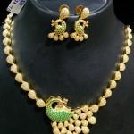 Imitation CZ Stone Peacock Necklace Set