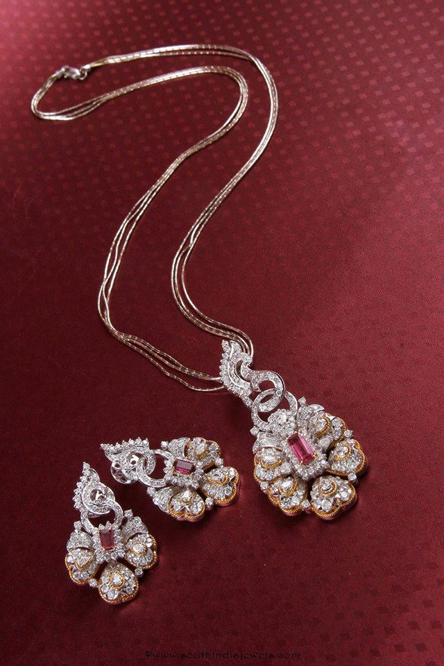 Diamond Chain and earrings from Manubhai Jewellers