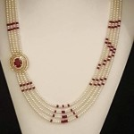 Artificial Pearl Ruby Mala Set