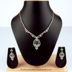 Simple Diamond Necklace Design From Bhima Jewellery