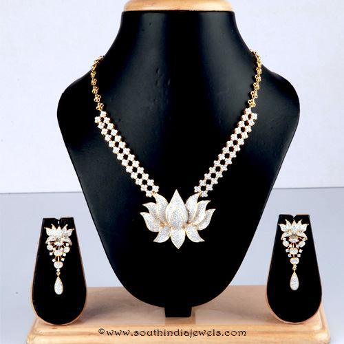 Diamond necklace with lotus pendant from Bhima Jewellery
