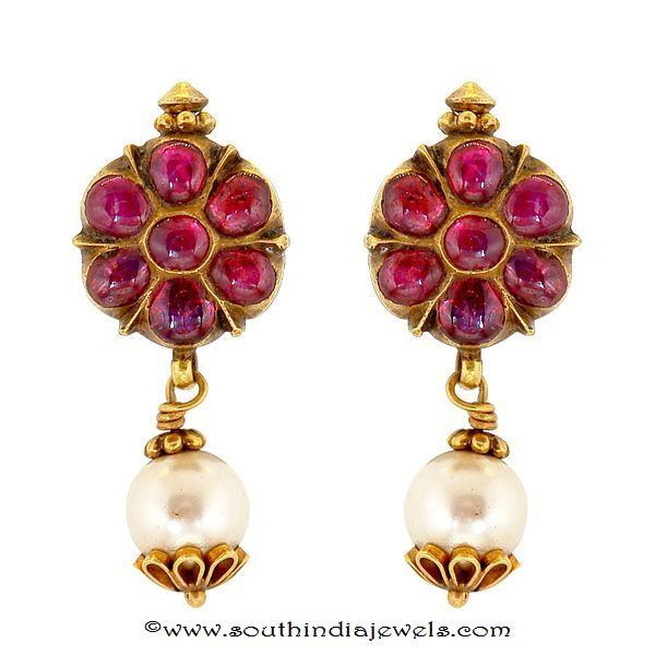 Gold ruby Earrings From Prince Jewellery