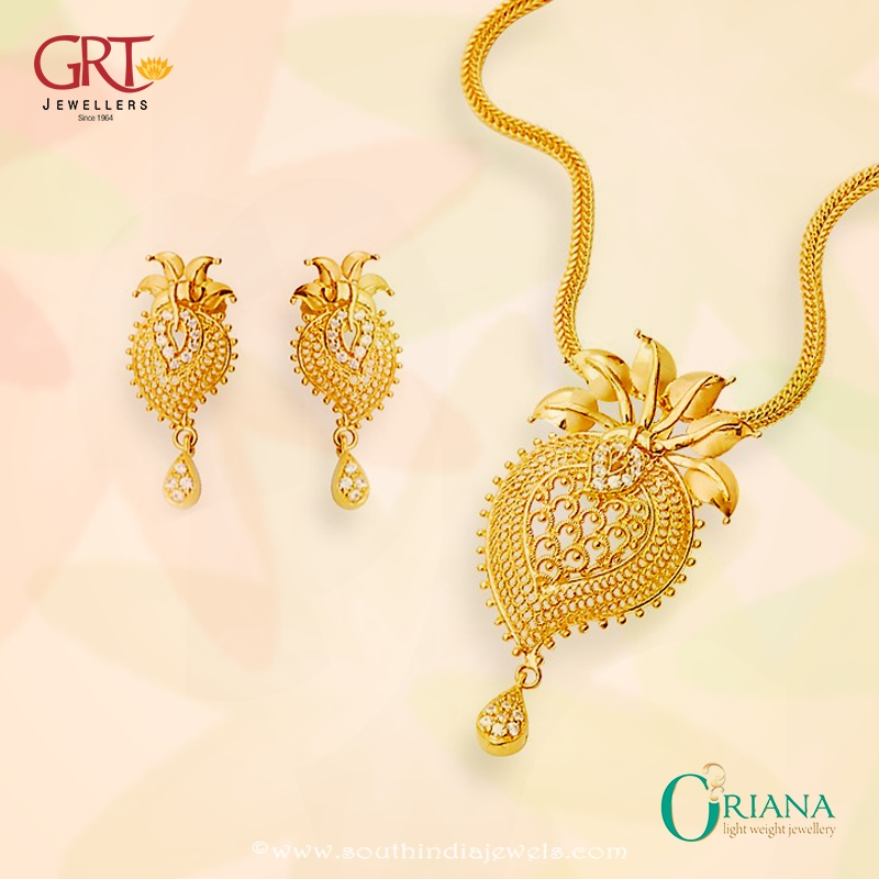 Gold Light Weight Short Necklace from GRT Jewellers South India