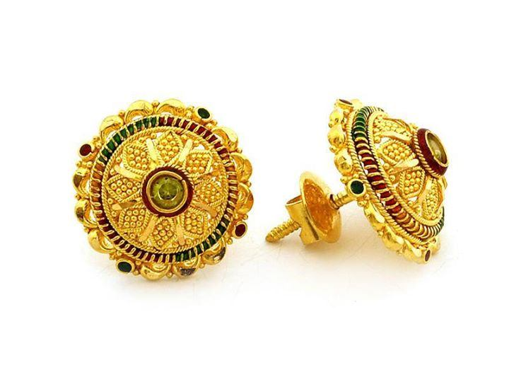 Gold Ear Stud with screw type lock