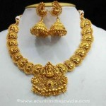 1 Gram Gold Temple Necklace With Jhumka