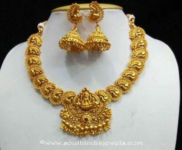 1-gram-gold-antique-temple-necklace-with-jhumka