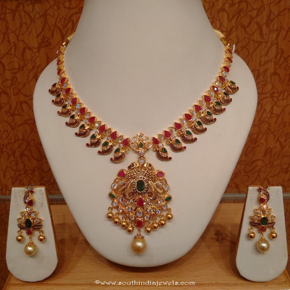 22k gold light weight necklace set naj