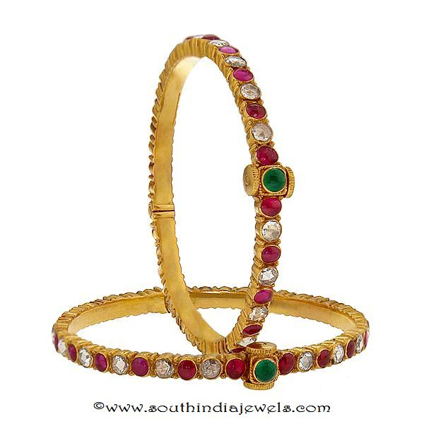 22k gold ruby emerald bangle from prince jewellery