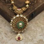 Dull Finish Gold Antique Necklace Set