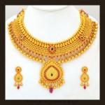 Gold Bridal Attigai Necklace Set From VBJ