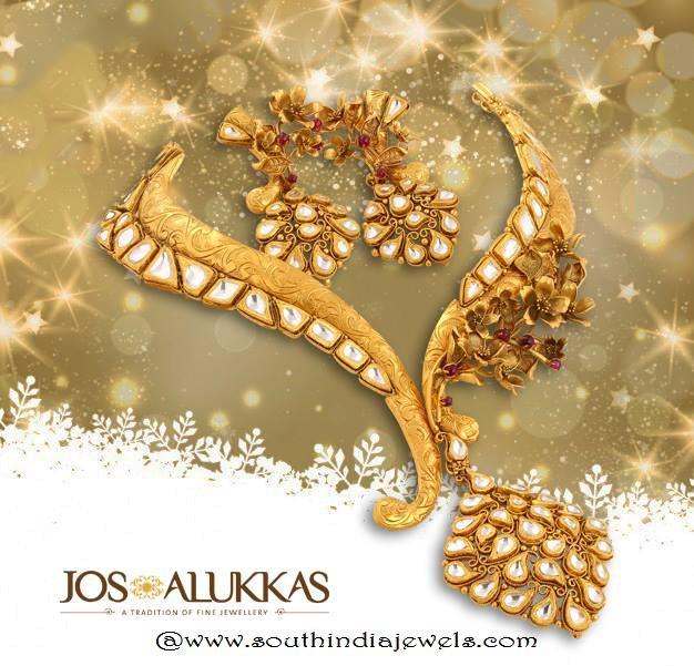 Gold Designer Antique Necklace From Josalukkas