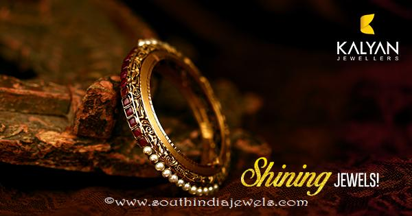 Gold Ruby Pearl Bangle From Kalyan Jewellers