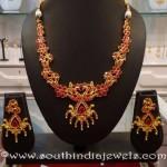 Imitation Ruby Peacock Necklace Set