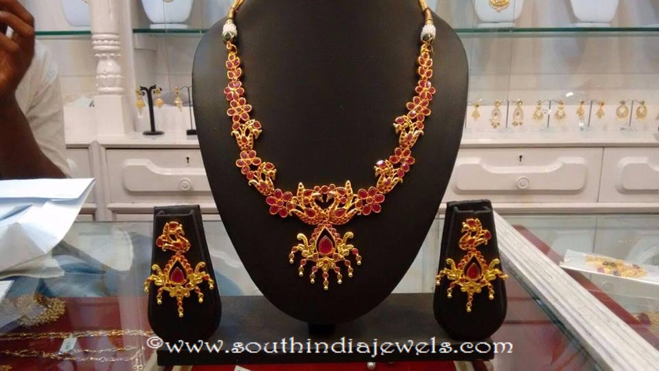 Imitation Ruby Peacock Necklace Set