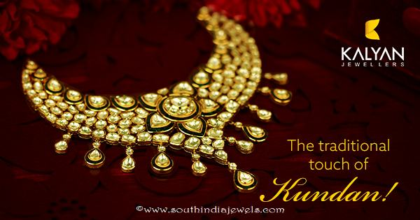 Kalyan Jewellers Gold Kundan Necklace Set