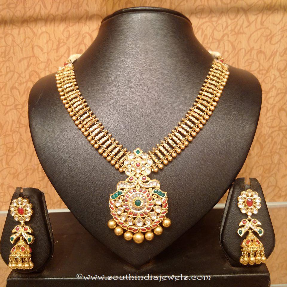 Light Weight Attigai Necklace With Jhumka