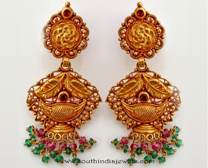 Maharashtrian style gold antique earrings from png adgil jewellers