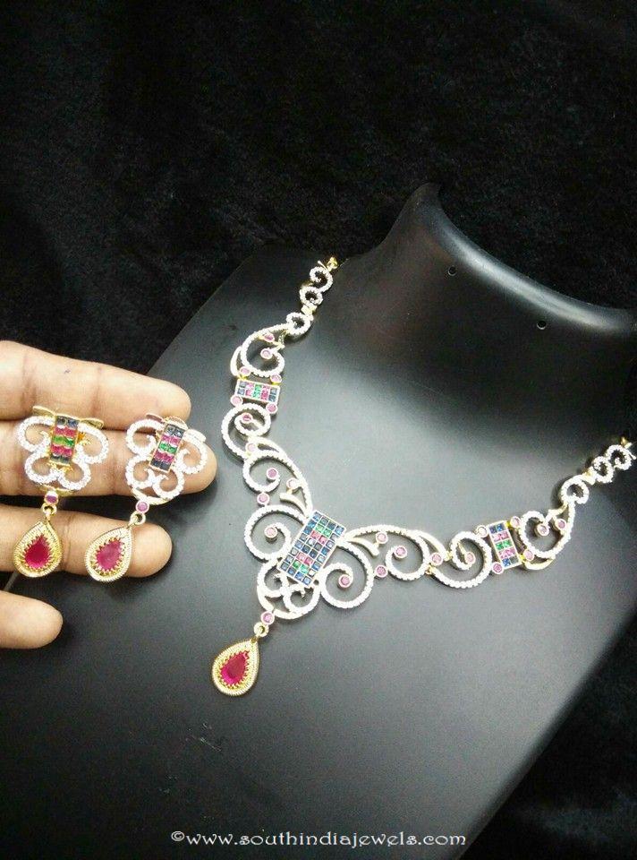 Multi color designer short necklace